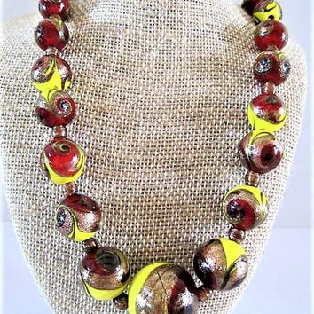 Swirl Lucite Choker, Marbled Beads, Boho Funky Chunky, Bright Red Yellow Beads