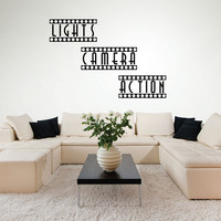 Wall Decals - Home Theater Decor - Theater Room - Movie Room Decor - Movie Theater Decor - Lights Camera Action - Stickers - Wall Art