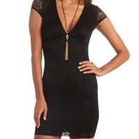 Cap Sleeve Deep V Bodycon Lace Dress by Charlotte Russe - Black