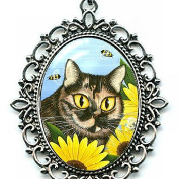 Tortoiseshell Cat Necklace Sunflowers Silver Tortie Cat Bumble Bees Cat Cameo Pendant 40x30mm Gift for Cat Lovers Jewelry