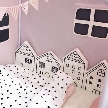 Nordic Baby Bed Bumper Infant Crib Cushion Baby Protector Newborn Cot Around Pillows Room Decor for Girl Boy Bedroom 4pcs/Set