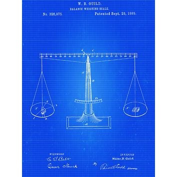 Scales of Justice Patent Poster - Patent Poster - Office Art - Balance Scale