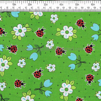 SALE 2.99 PER YARD - Ladybug Fabric - Bug Fabric - Cotton Fabric - Quilting Fabric - Exclusively Quilters - by the yard