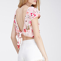 Knotted Rose Print Crop Top