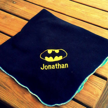 Bat Man Inspired Fleece Baby Blanket -  Super Hero - Personalized