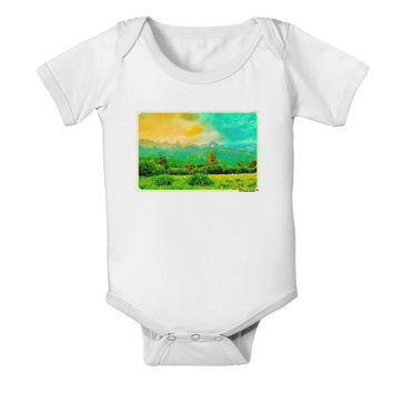 Mountain Sunset Watercolor Baby Romper Bodysuit