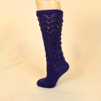 Purple Leg Warmer Slouch Socks - Eggplant Lace Slipper Socks - Slouchy Foot Warmers