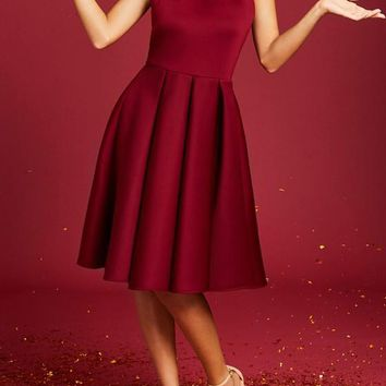 Red Pleated Halter Neck Backless Homecoming Party Elegance Midi Dress