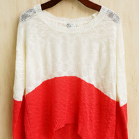 Change Of Pace Color Block Sweater, Tomato Red