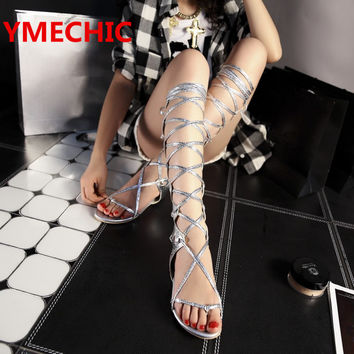 YMECHIC new fashion female summer casual Cross-tied flat heel lady gold silver high knee tall gladiator sandals boots for women