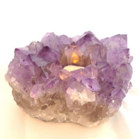 "Amethyst Candle Holder / 1785 grams (3lbs 15oz) 6X4.5X4"" / Reiki Infused / Space Clearing / Protection, Immunity, Transformation, Meditation"