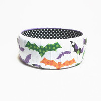 Halloween Novelty Bangle Bracelet featuring colorful Bats, Halloween Jewelry, Halloween accessories