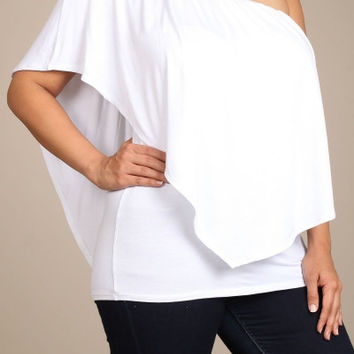 Womens PLUS SIZE White Double Layered Convertible Top