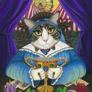 Fortune Teller Cat Psychic Tarot Card Art Queen of Cups Cat Circus Carnival Fantasy Cat Art Print 8x10 Cat Lovers Art