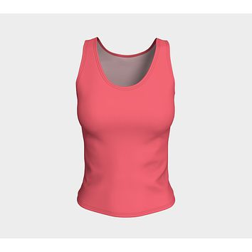 Solid Fitted Tank Top - Coral