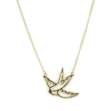 bird necklace,swallow necklace ,gold necklace,short necklace, friendship bridesmaids love gift