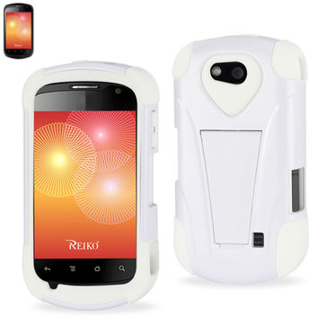 Reiko Silicon Case+Protector Cover For ZTE Groove X501 White New Type Kickstand