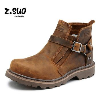 Zosuo Men Boots Buckle Desert British Male Boots Leather Martin Boots Tide Retro Tooli