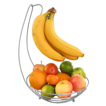 Evelots® Countertop Fruit Tree Basket Bowl Stand W/ Banana Hanger, Silver