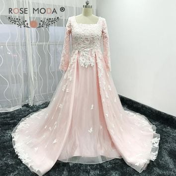 Rose Moda Long Sleeves Muslim Pink Wedding Dress Vintage Lace Wedding Gown Matching Shawl Optional