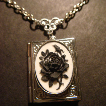 Black Rose Cameo Book Locket Necklace in by CreepyCreationz