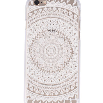 White Full Mandala Henna Iphone case