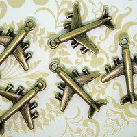 8 Airplane Charms  Antique Bronze Tone 3D with by BohemianFindings