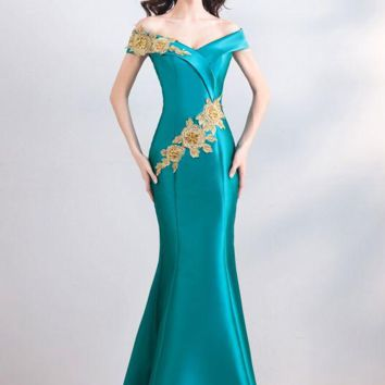 Turquoise Blue Evening Dresses Mermaid Satin Gold Lace Applique Beaded Off Shoulder Long Prom Gowns
