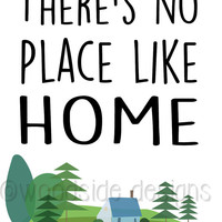 "Wizard of Oz - Book Quote, Digital Print INSTANT DOWNLOAD, Housewarming Gift, New Home Decor ""There's No Place Like Home"" Dorothy Print"