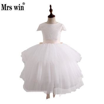 Vestido Daminha Flower Girl Dresses 2018 New Removable Two-piece Set Elegant O-neck Ball Gown For Girls Robe De Bal Enfant X