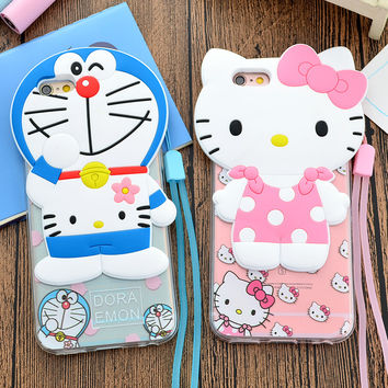 New 3D Cute Cartoon Case for iPhone 5 5s SE 6 6s 6Plus 6sPlus Cool Hello Kitty w Strap Back PC+Soft TPU Phone Cases Cover