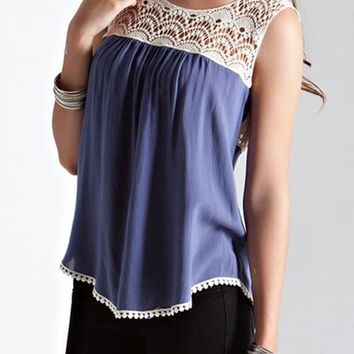 Slate Blue Crochet Top
