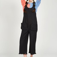 Buckle Strap Denim Jumpsuit Black - THE WHITEPEPPER