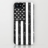 Dirty Vintage Black and White American Flag iPhone Case by RexLambo | Society6