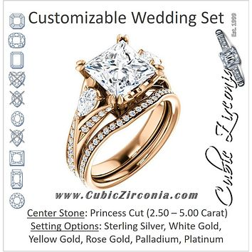 CZ Wedding Set, featuring The Jackie engagement ring (Customizable Princess Center with Flanking Pear Accents and Pavé Band)