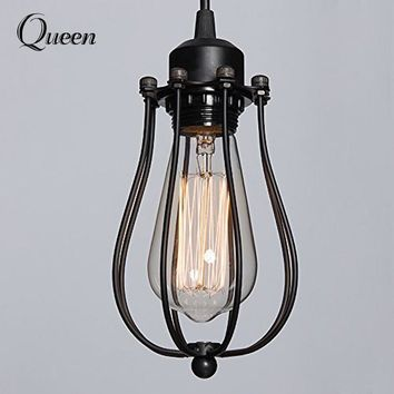 Vintage Industrial Lamp Guard Black Metal Bulb Birdcage Lights Iron Wire Lamp Cage Lampshade For Edison bulb Pendant Lighting