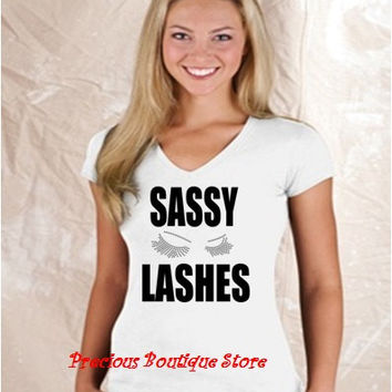 Sassy Lashes Rhinestone/ Black Vinyl Combination with Lashes Shirt