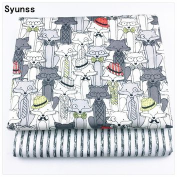 Syunss New Gray Fox Stripes Cotton Fabric For Diy Sewing Craft Quilting Patchwork Tissue Tilda Doll Cloth Kids Bedding Textile