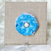 """Flower Brooch Pin Blue Silk and White Organza 2.5"""" Pearl Center Shabby Chic Boutonniere Bridesmaid Bridal Flower Girl"""