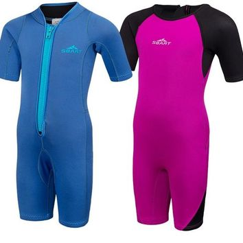 Neoprene Kids Girls Boys Wet suits One Pieces Diving Suits Snorkel Surfing Rash Guards Children Swimsuit