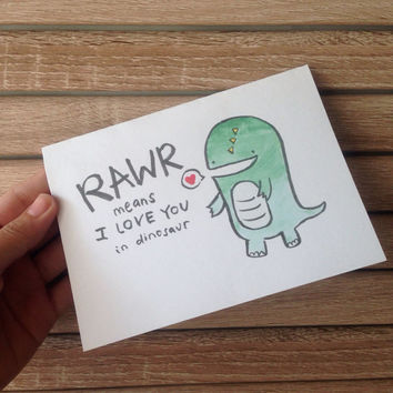 Dinosaur Valentine's Day Card Rawr means I love you in dinosaur, I love You card, Wedding Anniversary Card, Couple, Boyfriend, Girlfriend