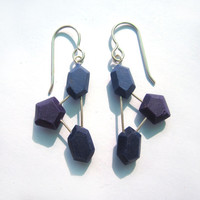 Modern Blue Earrings, handmade geometric, colorful jewelry, sterling silver, lightweight dangle, nickel free, contemporary silver, plastic