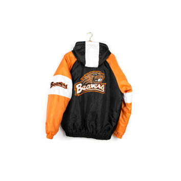 90s OSU BEAVERS starter style parka jacket - vintage 1990s - oregon state college football - embroidered patch - M - L