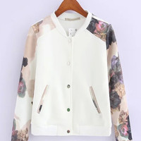 Casual White Flowers Printed Single-Breasted Stand Collar Baseball Sweatshirts