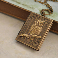 The LIttle Wise One, cute baby owl on branch book style antiqued brass locket necklace with new moon connector