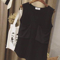 Sleeveless Double Pocket Chiffon Blouse