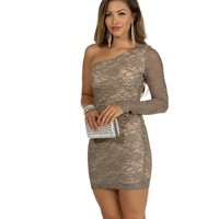 Taupe All That Lace Dress