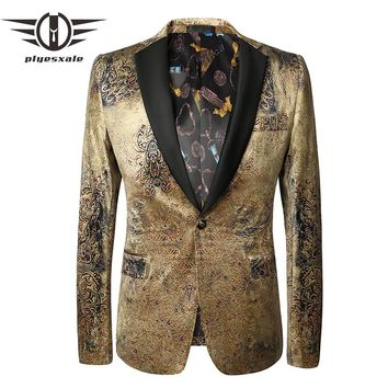 New Spring Casual Blazer Men Slim Fit Men Shawl Collar Blazer Vintage Printed Blazers Wedding Prom Wear