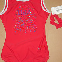NWT Destira Gymnastic Ruby Tank Silver Foil Trim Leotard XS Adult # 4421