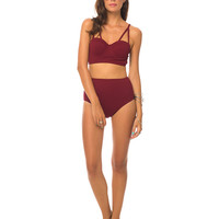 Motel Loe Stappy Bikini Top in Maroon Textured